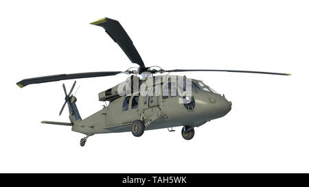 Helicopter in flight, military aircraft, army chopper isolated on white background, bottom view, 3D rendering - Stock Image