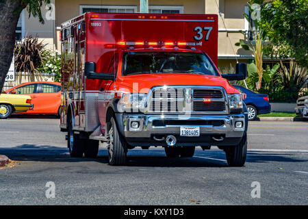 Los Angeles City Fire Department Rescue Ambulance 37 - Stock Image