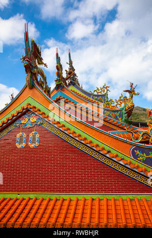 Architectural details of the old Chinese temple located in Jiufen village on November 7, 2018, in Jiufen, Taiwan - Stock Image
