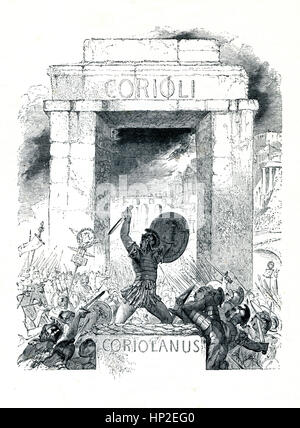 Coriolanus, Victorian book frontispiece for the play by William Shakespeare from the 1849 illustrated book Heroines - Stock Image