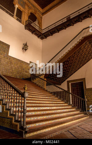 SEVILLE, ANDALUSIA / SPAIN - OCTOBER 13 2017: INTERIOR STAIRCASE - Stock Image