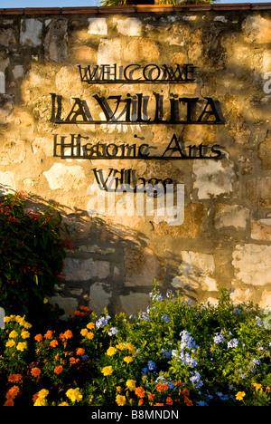 La Villita entrance sign marker San Antonio texas tx historic arts village shopping area - Stock Image