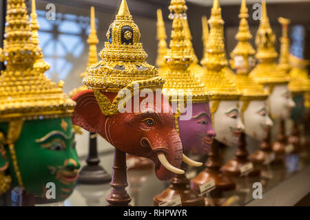 iconic masks at bangkok's museum of contemporary art - Stock Image