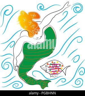 Mermaid and fish.  Swimming mermaid and fish in the sea. - Stock Image