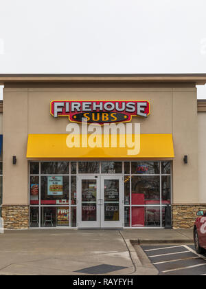 HICKORY, NC, USA-1/3/19: Firehouse Subs is a US-based fast food restaurant chain, with over 1100 franchise restaurants. - Stock Image