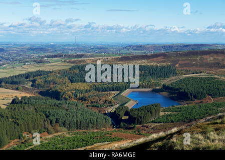 Yateholme Reservoir and Holme valley, from Holme Moss, West Yorkshire, England UK - Stock Image