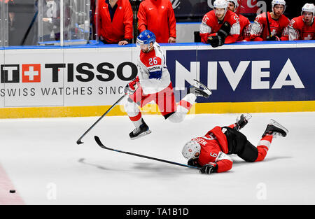 L-R Michal Repik (CZE) and Yannick Weber (SUI) in action during the match between Czech Republic and Switzerland within the 2019 IIHF World Championship in Bratislava, Slovakia, on May 21, 2019. (CTK Photo/Vit Simanek) - Stock Image