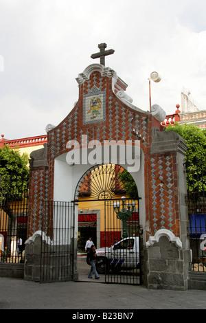 Entrance Gate to Saint Domingo Guzman Church in Puebla Mexico - Stock Image