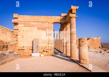 Rhodes, Greece. Acropolis of Lindos, Ancient Greek civilization in Aegean Islands. - Stock Image
