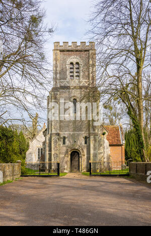 Front facade of St Andrew the Apostle Church in Hurstbourne Priors near Whitchurch, Hampshire, England, UK - Stock Image