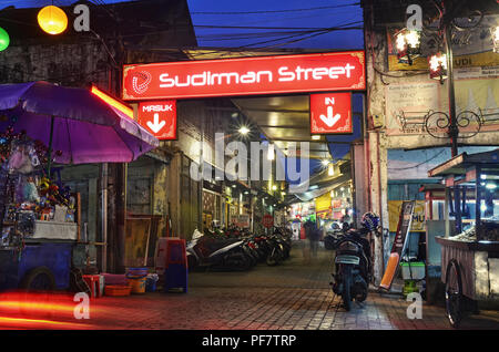 Sudirman Street, a culinary street/area in Bandung - Stock Image