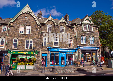 Lake District National Park UK ambleside town square shops fountain market place area - Stock Image