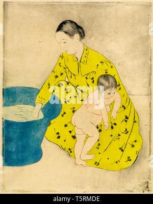 Mary Cassatt, The Bath, print, c. 1890-1891 - Stock Image