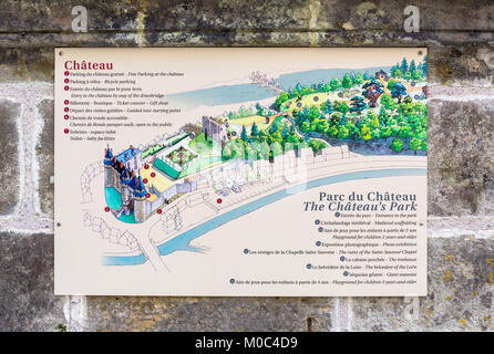 Information display at Château de Langeais displaying a map and description of the castle - Stock Image