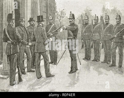 The arrest of Irish Republican James Stephens, founder of the Fenian newspaper The Irish People, 1865 - Stock Image