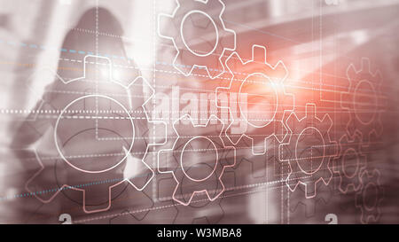 Business technology internet concept double exposure gears abstract background - Stock Image