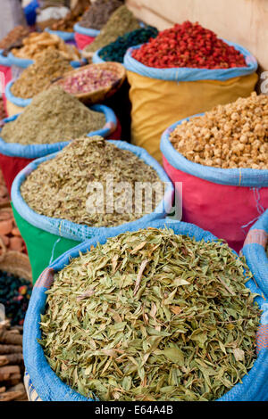 Dried flowers, & herbs, Spice Market in the souk - Rahba Kedima in Marrakech - Stock Image