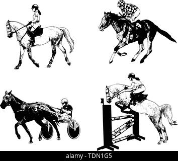 equestrian sports set, sketch illustration - vector - Stock Image