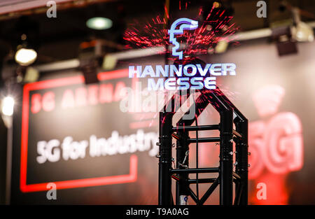 31.03.2019, Hannover, Lower Saxony, Germany - Hanover Fair Logo Projection in the 5G Arena at the Hanover Fair. 00X190331D032CAROEX.JPG [MODEL RELEASE - Stock Image