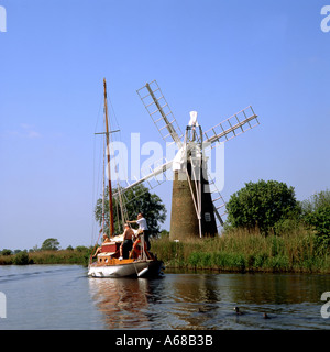 Windmill and yacht on River Ant at How Hill Norfolk Broads Norfolk - Stock Image