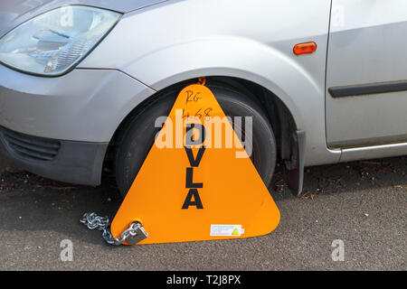 Untaxed vehicle immobilised at the roadside by a yellow DVLA clamp, for non-payment of road tax - Stock Image