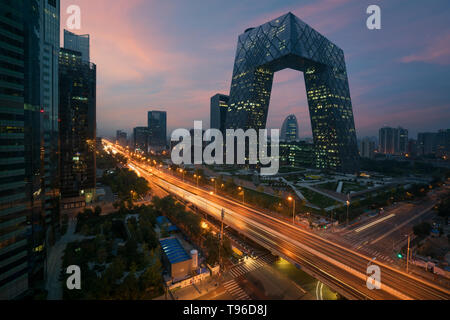 China's Beijing City, a famous landmark building, China CCTV (CCTV) 234 meters tall skyscrapers is very spectacular. - Stock Image