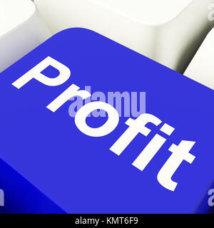 Profit Computer Key In Blue Showing Earnings And Investments - Stock Image