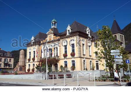 The Hotel de Ville in Cluses, in the Haute-Savoie department in the Auvergne-Rhône-Alpes region in southeastern France. - Stock Image