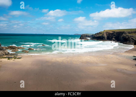 Porthcothan near Padstow in North Cornwall with views over the Camel Estuary was used to portray Nampara Cove in - Stock Image