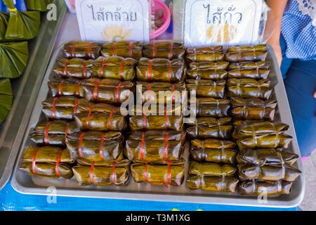 Banana leaves, Fresh Food Market, Krabi town, Thailand - Stock Image
