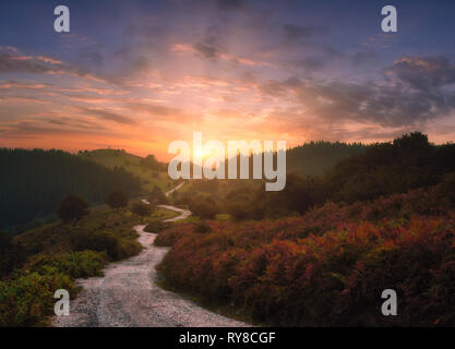 path in the mountains with beautiful sunset - Stock Image
