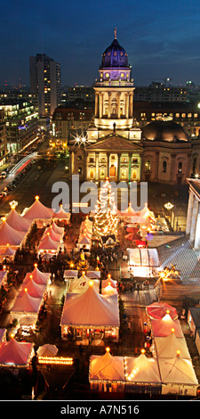 Berlin Gendarmenmarkt Christmas market in front of concert house German dome View from French dome top - Stock Image