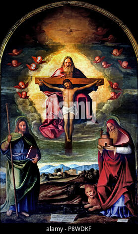 La trinita ei Santi Giacomo e Girolamo - The trinity and Saints James and Jerome by Girolamo da Santacroce 1480/85 – 1556 ),Italy, Italian. - Stock Image