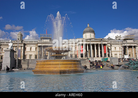 Statue and Fountain in Front of the National Art Gallery, Trafalgar Square, London - Stock Image