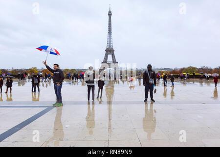 PARIS, FRANCE - NOVEMBER 11, 2018 - Eiffel Tower seen from the terrace of Trocadéro - Stock Image