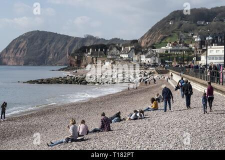 Sidmouth, UK. 24th Mar, 2019. A spot of warm sunshine tempted people onto the beaches at Sidmouth. Credit: Photo Central/Alamy Live News - Stock Image