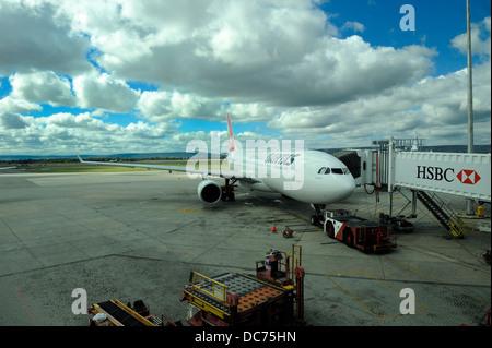 Qantas jet undergoing preparations for flight. Perth Airport, Perth, Western Australia - Stock Image