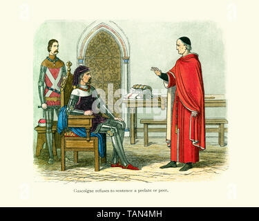 Sir William Gascoigne chief justice of England before King Henry IV refusing to sentence to death Archbishop Scrope (Archbishop of York) and Thomas Mo - Stock Image