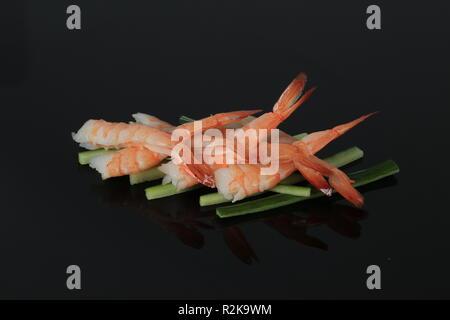 A set of some sashimi shrimp, closeup - Stock Image