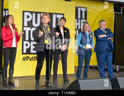 London, UK. 23rd Mar, 2019. Anna Soubry TIG MP speaking with Dr Rosena Allin-Khan labour MP, , Caroline Lucas Greens MP, Justine Greening Conservative MP  People's Vote March and rally, 'Put it to the People.' Parliament Square London Credit: Prixpics/Alamy Live News - Stock Image