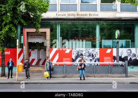 Forum Willy Brandt Berlin Museum exhibition commemorates the life & the political work of the social democrat, statesman & Nobel Peace Prize Laureate - Stock Image