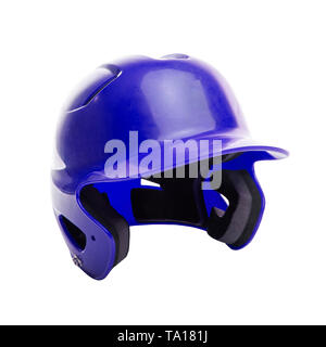 A blue batter's helmet isolated on white background. This helmet can be used for various team sports like baseball, softball and T-Ball. - Stock Image