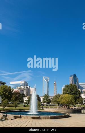Charlotte skyline and water fountain, NC, USA - Stock Image