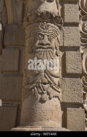 Carving of Pachamama on the baroque-mestizo Basílica de San Francisco church in La Paz, Bolivia - Stock Image