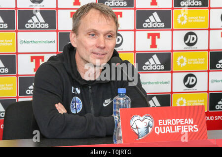 Windsor Park, Belfast, Northern Ireland, UK. 20 March 2019. The Estonian press-call before tomorrow night's Euro 2020 qualifying game in Belfast. Estonia head coach Martin Reim. Credit: David Hunter/Alamy Live News. - Stock Image
