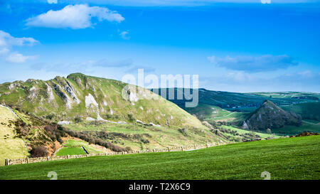 Chrome Hill is a limestone reef knoll on the Derbyshire side of the upper Dove valley it is commonly known as the Dragons Back. - Stock Image