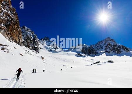 Ski touring on Glacier de Argentiere, Chamonix, Rhone Alpes, Haute Savoie, French Alps, France, Europe - Stock Image
