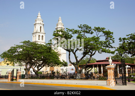 Cathedral of Nuestra Senora de la Concepcion and Main Plaza, Campeche, Yucatan Peninsular, Mexico. - Stock Image