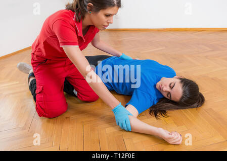 First Aid Training. Food Poisoning. First aid course. - Stock Image