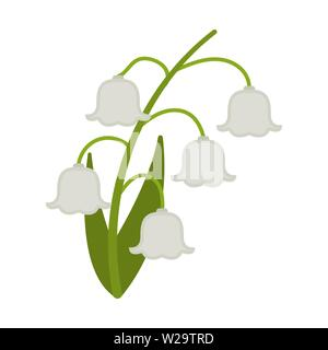Lily of the valley flower flat icon, wild flowers, plant vector illustration isolated on white background - Stock Image